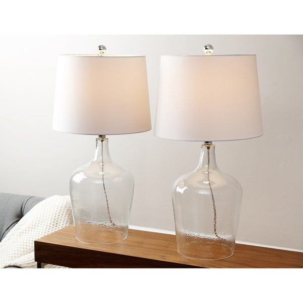 abbyson azure clear glass table lamp set of 2 free shipping today. Black Bedroom Furniture Sets. Home Design Ideas