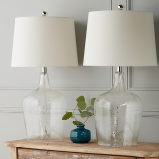 Abbyson Azure Clear Glass 27.5-inch Table Lamp (Set of 2)