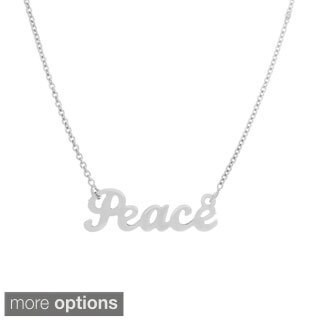 14k Goldplated Sterling Silver Script 'Peace' Necklace