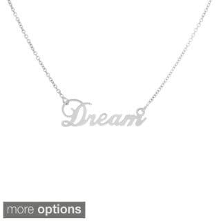 Sterling Essentials 14k Goldplated Sterling Silver Script 'Dream' Necklace