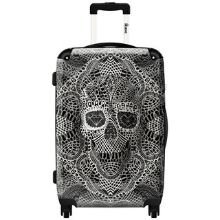 iKase Bohemian Art Skull 24-inch Hardside Spinner Upright Suitcase