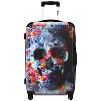 iKase Water Color Flower Skull 24-inch Hardside Spinner Upright Suitcase