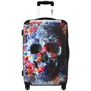 iKase Water Color Flower Skull 24-inch Hardside Spinner Upright Suitcase