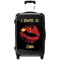 iKase China Lips Art 24-inch Hardside Spinner Upright Suitcase