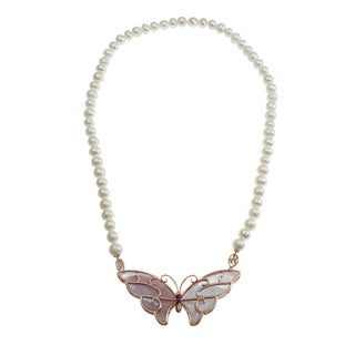 Dallas Prince Sterling Silver Freshwater Pearl Necklace with Mother of Pearl Butterfly Brooch Pendant (8-10 mm)