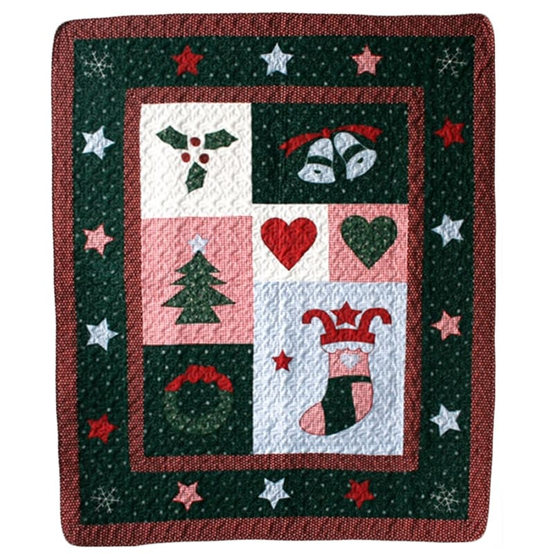 Christmas Night Quilted Throw (throw), Multi (Cotton, Nov...