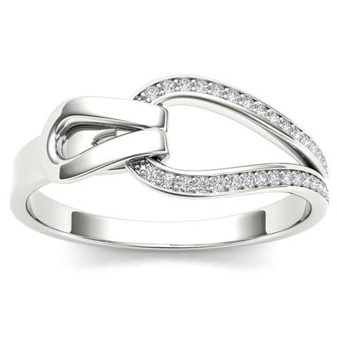De Couer 10k White Gold 1/10ct TDW Diamond Fashion Ring