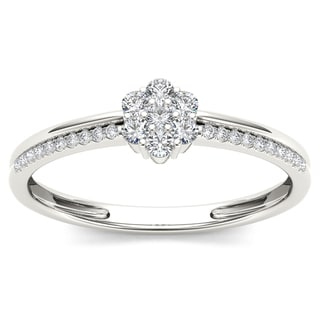 De Couer 10k White Gold 1/5ct TDW Diamond Cluster Fashion Ring (H-I, I2)