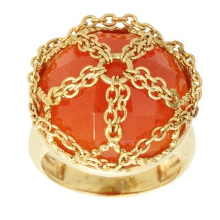 Michael Valitutti Round-cut Carnelian Chain Accent Ring