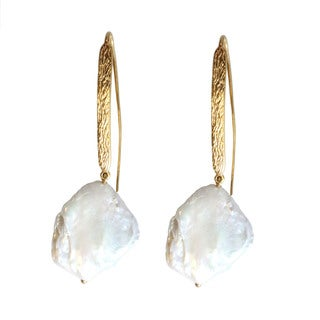 Michael Valitutti Gold Over Silver Pearl Earrings (20-25 mm)