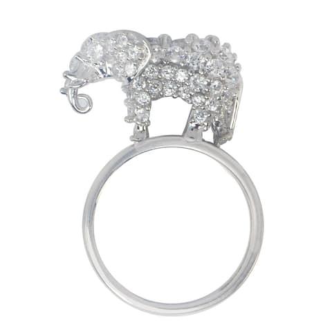 Gems en Vogue Sterling Silver Large 'Elephant' Cubic Zirconia Ring