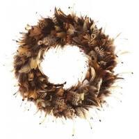 Handmade 15-inch Pheasant Feather Wreath