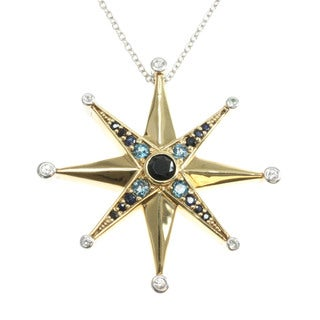 Michael Valitutti Black Spinel and London Blue Topaz Star Pendant