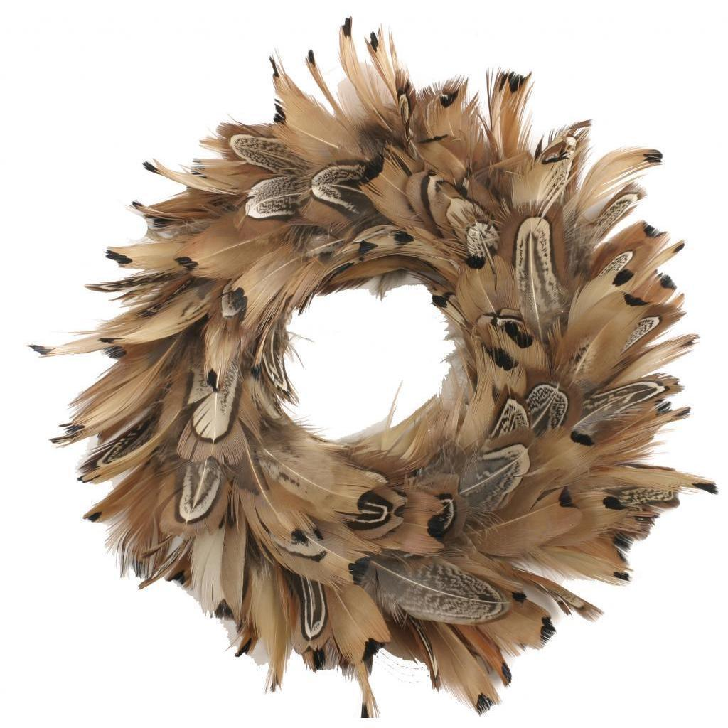 Handmade 8-inch Pheasant Feather Wreath (Natural)