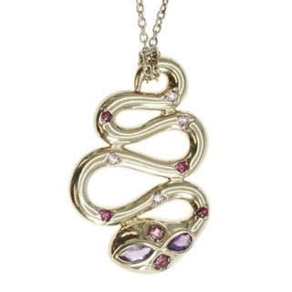 Michael Valitutti Gold Over SIlver, Tourmaline and Amethyst 'Snake' Pendant