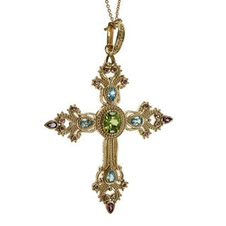 Dallas Prince Peridot, Swiss Blue Topaz, and Rhodolite Cross Necklace