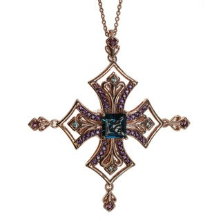 Dallas Prince London Blue Topaz, Amethyst, Blue Zircon, and Rhodolite Cross Necklace