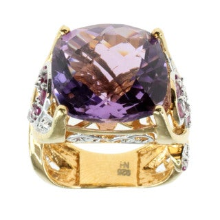 Dallas Prince Sterling Silver Pink Amethsyt And Hot Pink Sapphire Ring
