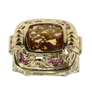 Dallas Prince Sterling Silver Citrine and Pink Sapphire Ring