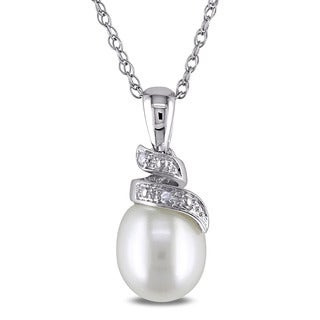 Miadora 10k White Gold Cultured Freshwater White Pearl and Diamond Accent Drop Necklace (6.5-7 mm)