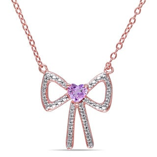 Miadora Rose Goldplated Silver Rose De France Bow Heart Necklace