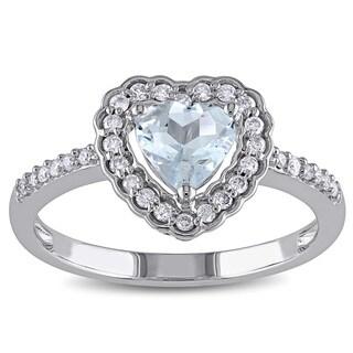 Miadora 10k White Gold Aquamarine and 1/5ct TDW Diamond Heart Halo Ring (G-H, I1-I2)