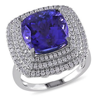 Miadora Signature Collection 14k White Gold Tanzanite and 3/4ct TDW Triple Halo Diamond Ring (G-H, SI1-SI2)