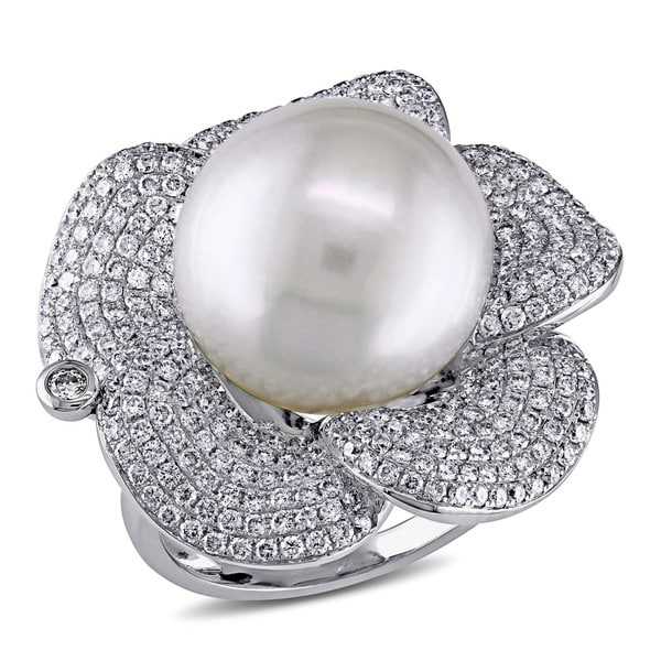 Miadora Signature Collection 14k White Gold South Sea Pearl 1 3/4ct TDW Diamond Flower Ring (G-H, SI