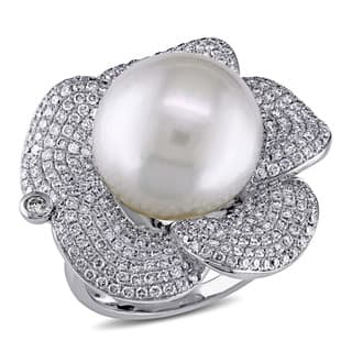 Miadora Signature Collection 14k White Gold South Sea Pearl 1 3/4ct TDW Diamond Flower Ring (G-H, SI|https://ak1.ostkcdn.com/images/products/9625079/P16811492.jpg?impolicy=medium