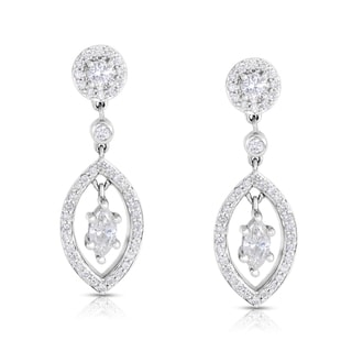 Eloquence 14k White Gold 1 1/10ct TDW White Diamond Dangle Earrings (H-I, I1-I2)