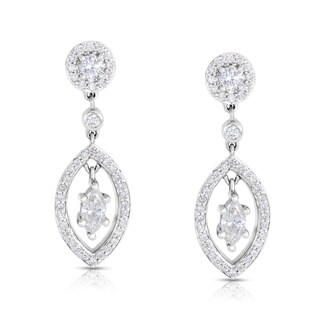 Eloquence 14k White Gold 1 1/10ct TDW White Diamond Dangle Earrings