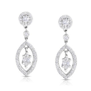 Eloquence 14k White Gold 1 1/5ct TDW White Diamond Dangle Earrings (H-I, I1-I2)