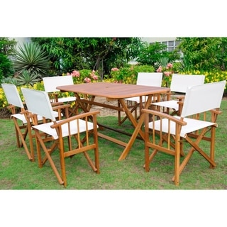 International Caravan Cariati Stained Acacia Hardwood Outdoor 7-piece Dining Set