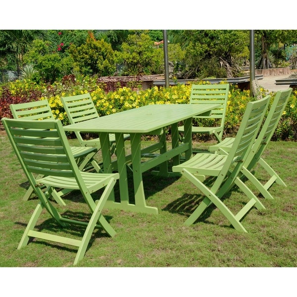 International Caravan Milazzo Stained Acacia Hardwood Outdoor 7-piece Dining Set