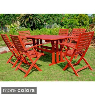 International Caravan Sciacca Stained Acacia Hardwood Outdoor 7 Piece  Dining Set