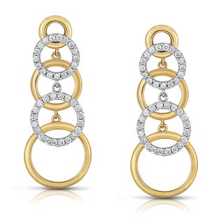 Eloquence 14k Two-tone Gold 1 1/5ct TDW White Diamond Earrings (H-I, I1-I2)