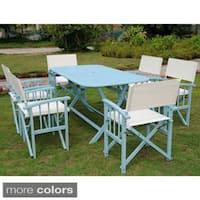 International Caravan Cariati Stained Acacia Hardwood Outdoor Folding 7-piece Dining Set