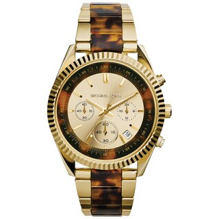 Michael Kors Women's MK5963 Clarkson Goldtone and Tortoise Chronograph Watch