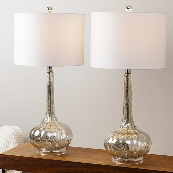 Lovely Abbyson Silver Mercury Antiqued Glass Table Lamp (Set Of 2)