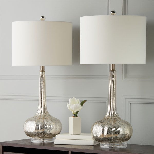 Abbyson silver mercury antiqued glass table lamp set of 2