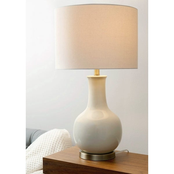 Abbyson Gourd Beige Ceramic Table Lamp