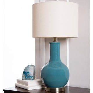 Abbyson Gourd Blue Ceramic Table Lamp