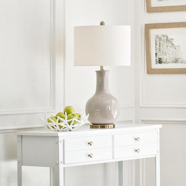 Abbyson living gourd grey ceramic table lamp 16811322 overstock