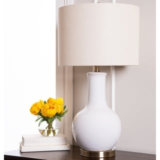 Abbyson Gourd White Ceramic Table Lamp