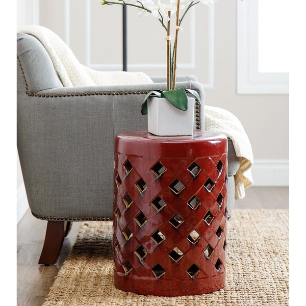 Charmant Abbyson Capiz Red Ceramic Garden Stool