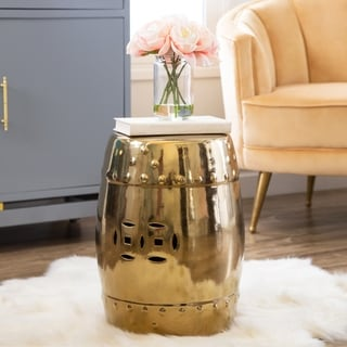 ABBYSON LIVING Madras Gold Chrome Ceramic Garden Stool