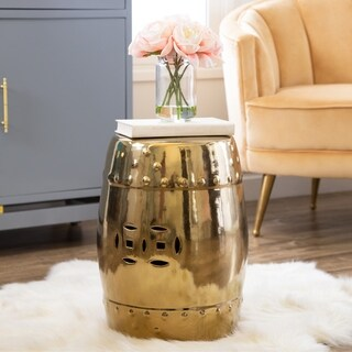 Abbyson Madras Gold Ceramic Garden Stool