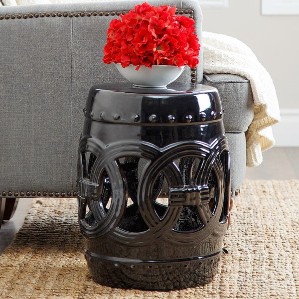 Abbyson Moroccan Black Garden Stool Free Shipping Today