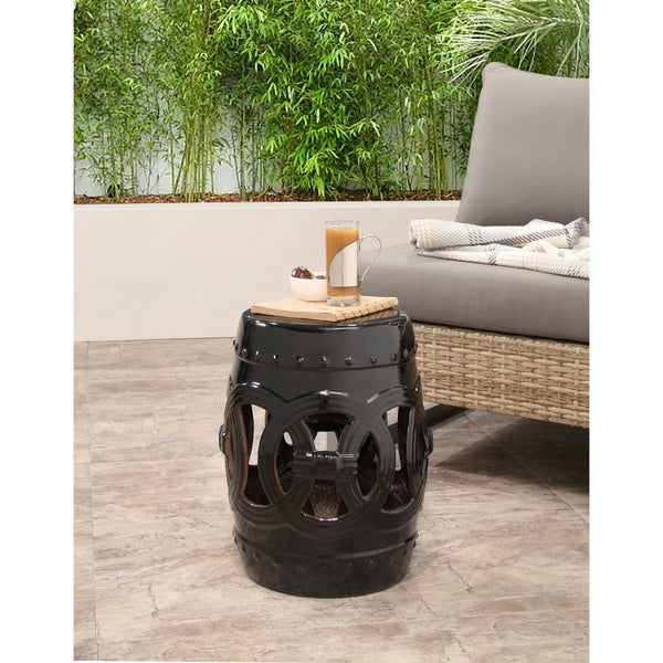 Abbyson Moroccan Black Garden Accent Stool - Free Shipping Today - Overstock.com - 16811331  sc 1 st  Overstock.com & Abbyson Moroccan Black Garden Accent Stool - Free Shipping Today ... islam-shia.org
