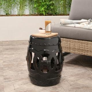Abbyson Moroccan Black Ceramic Garden Stool